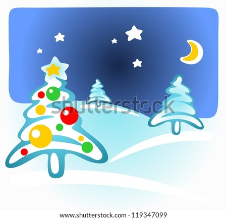 Stylized Christmas trees on a winter background.