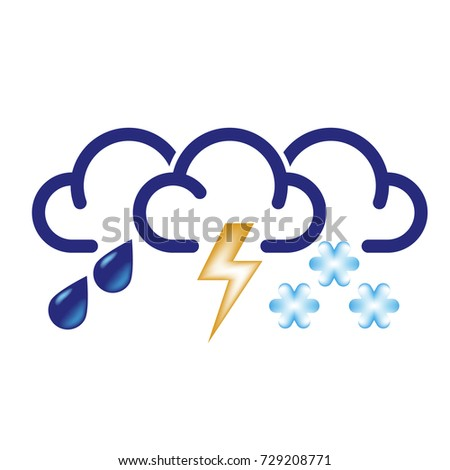 Stylized clouds with raindrops, lightning and snowflakes. All in one bad weather icon.