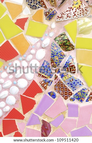 Stylized colorful abstract background - Beautiful Mosaic - mosaic wall decorative ornament from ceramic broken tile
