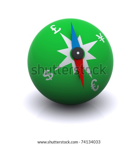 stylized compass indicating the direction of currencies