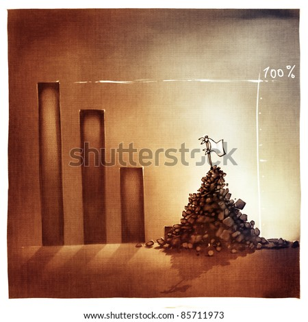 stylized conceptual business chart - giving-up metaphor (artistic loose stylized painting)