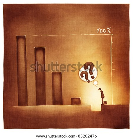 stylized conceptual business chart - loss incurred (artistic loose stylized painting)