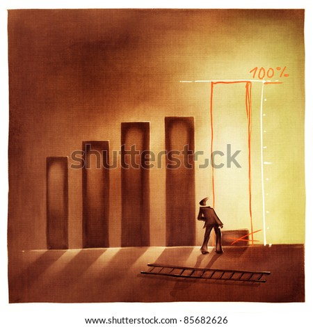 stylized conceptual business chart - pretending success metaphor (artistic loose stylized painting)