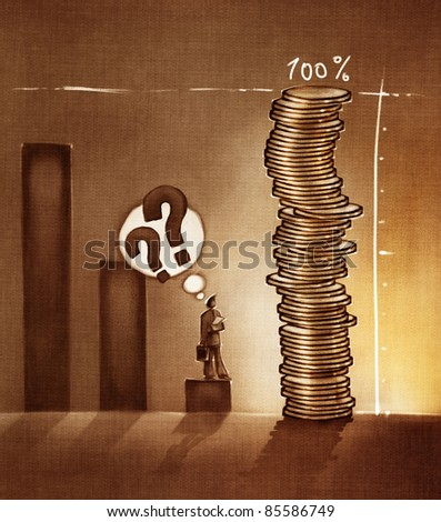 stylized conceptual business chart - success metaphor depicted with coins (artistic loose stylized painting)