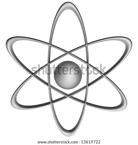 stylized 3d render of an atomic symbol on a white background - stock photo