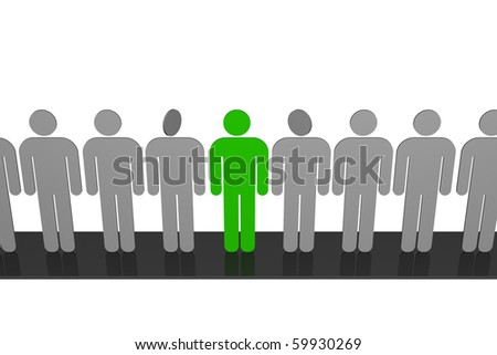 """stylized drawing of people who stood in line, along the podium and who are find among them """"other"""" - stock photo"""