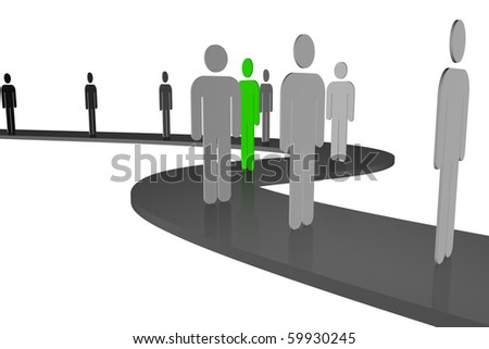"stylized drawing of people who stood in line, along the winding way of life and among them there are ""other"""