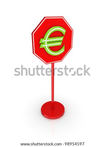 Stylized euro sign.Isolated on white background.3d rendered.