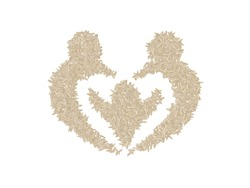 Stylized Family symbol made with white rice grains. Agriculture, nutrition, food staple and life concepts.
