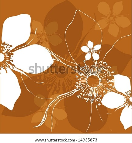Stylized floral pattern in natural eart tones with abstract rose flower.