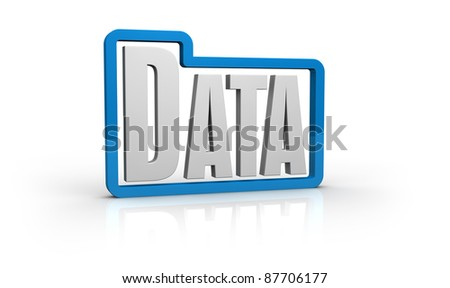 stylized folder icon with the word: data, inside it (3d render)
