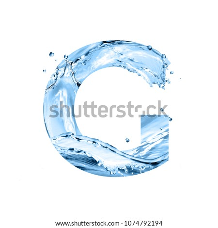 stylized font, art text made of water splashes, capital letter g, isolated on white background #1074792194
