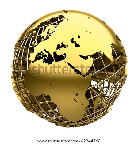 Stylized golden globe of the Earth with a grid of meridians and parallels