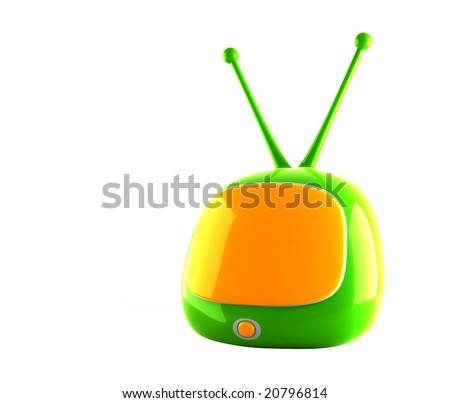 stylized green tv on white background