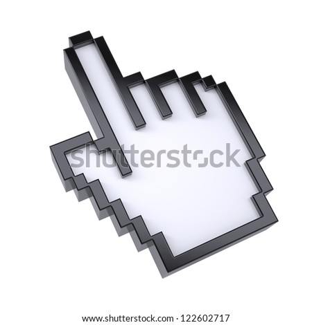 Stylized hand pointer. Isolated render on a white background