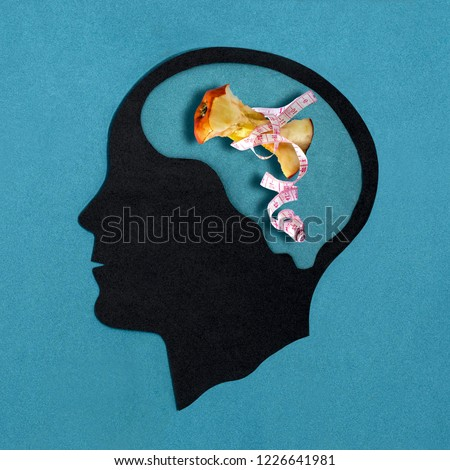Stylized head silhouette. Brain with apple stub in measuring tape. Pathological food restriction. Anorexia nervosa. Concept of mental health and disease