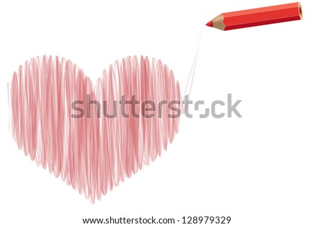 Stylized heart pencil drawing with pencil. Rasterized version.