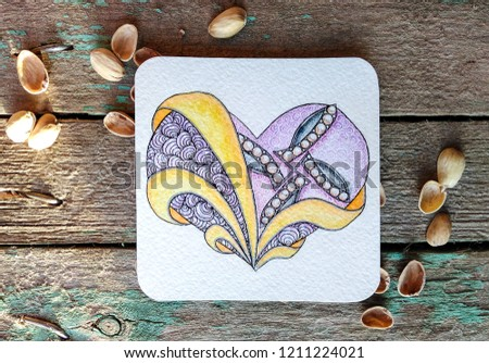 Stylized heart, valentine, painted in the zentangle style. Zen art. Ornament. Drawn by hand #1211224021