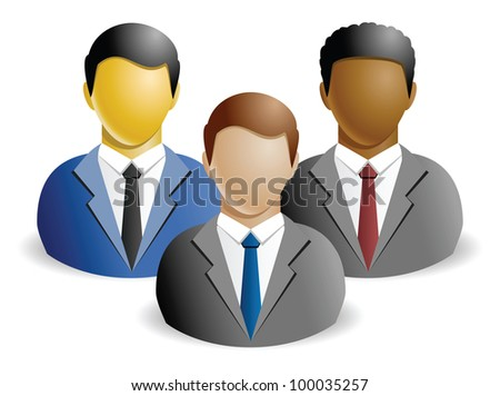 Stylized icons of business people on white background
