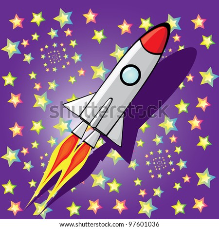Stylized illustration of a retro rocket ship space vehicle blasting off into the sky.
