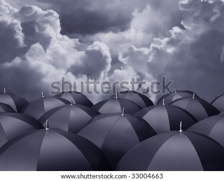 Stylized illustration of umbrellas beneath a stormy sky