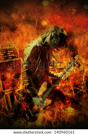 Stylized image of a Heavy Metal bass guitar player live on stage.
