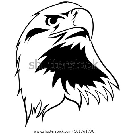stylized image of an eagle. Black and white tattoo