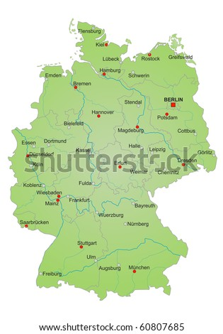 Stylized map of germany showing states, rivers and big cities. City names in german language.
