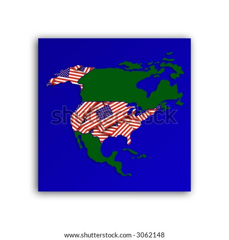 Stylized map of North America showing approximate borders
