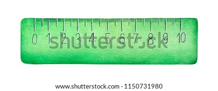 Stylized measuring ruler watercolour illustration. One single object, front view, green color, cute design, 10 centimetres long. Hand painted colorful sketchy drawing, isolated clip art element. Foto stock ©