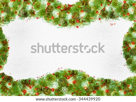 Stylized new year frame for background for wallpaper, screen, postcard, poster, invitation, decoration, fabric, cover, dress, greeting card #344439920