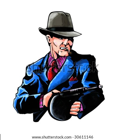 Stylized painting of mobster with gun isolated on white background.