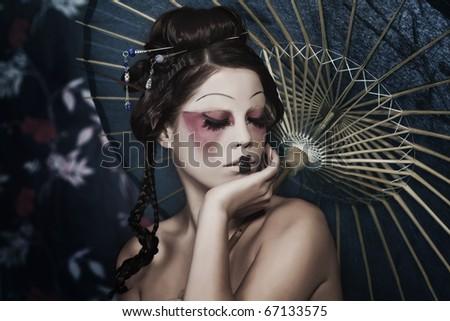 geisha face makeup. a Japanese geisha, make-up