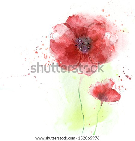 Stylized Poppy flowers illustration.Beautiful summer red flowers, watercolor illustration. Floral background. Watercolor floral seamless pattern.
