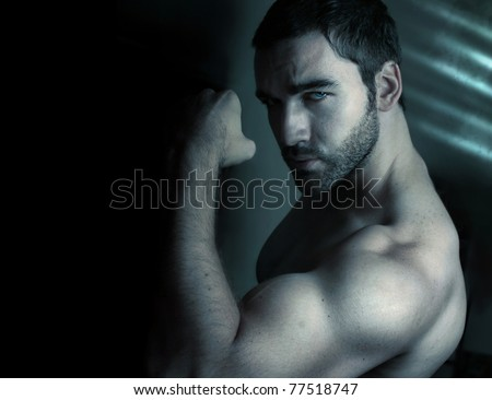 """Stylized portrait of macho man flexing bicep with tattoo reading """"This is Me, So What?"""""""