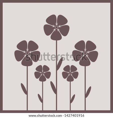 Stylized purple flowers in front of white background. Can be used as fabric pattern in textile industry or as wall decoration in interior decoration.