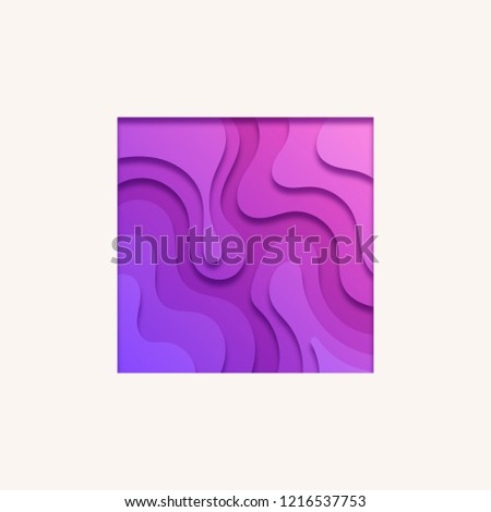 Stylized Purple Square. Paper Cut Out Layer Art Illustration