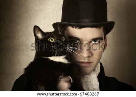 top hat cat. man in top hat and period