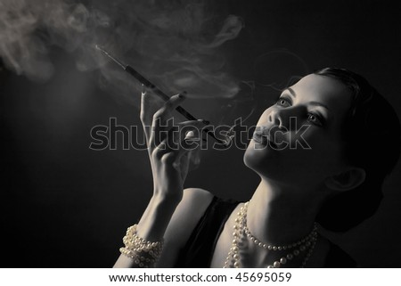 stylized retro portrait with cigarette