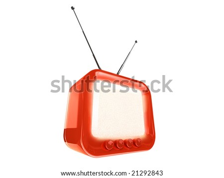 stylized retro TV - clipping path