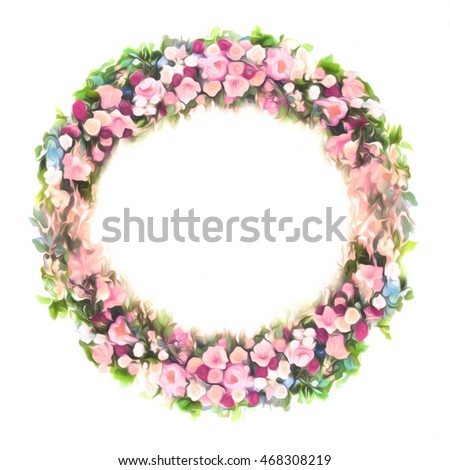 Stylized round frame floral pattern - bouquet for background, label ...