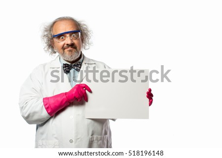 Stylized Scientist with messy hair holding a blank piece of paper (copy space)