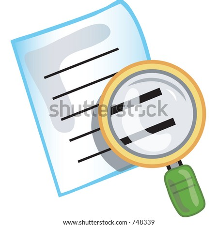 Stylized search icon or symbol with magnifying glass