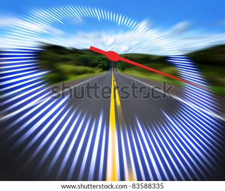 Stylized speedometer on the track at high speed. Concept of speed.