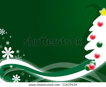 Stylized tree with abstract swirls and snowflakes.