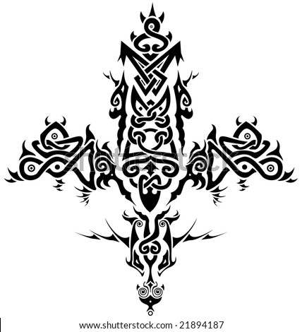 stock photo : Stylized tribal Celtic inspired cross / tattoo.