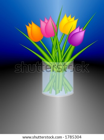 Stylized tulips in a cylindric glass vase. (It is a bitmap drawing / not a photo). Stock foto ©