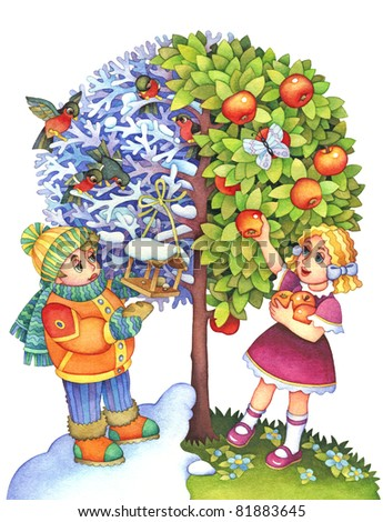Stylized watercolor illustrations. The symbolic image of the seasons through the tree and children.