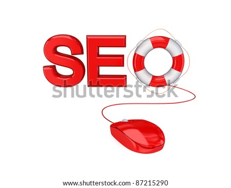 Stylized word SEO. 3D rendered. Isolated on white.