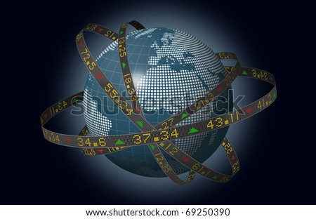 Stylized world markets with globe and orbiting ribbons displaying sliding stock market tickers